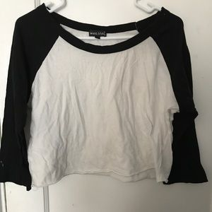 Black and White Baseball Shirt Crop Top